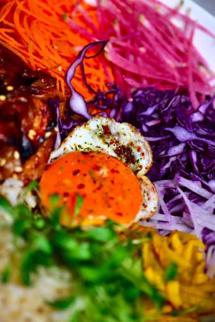 Close up of egg in donburi