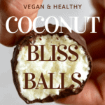 A close up of an open coconut bliss ball