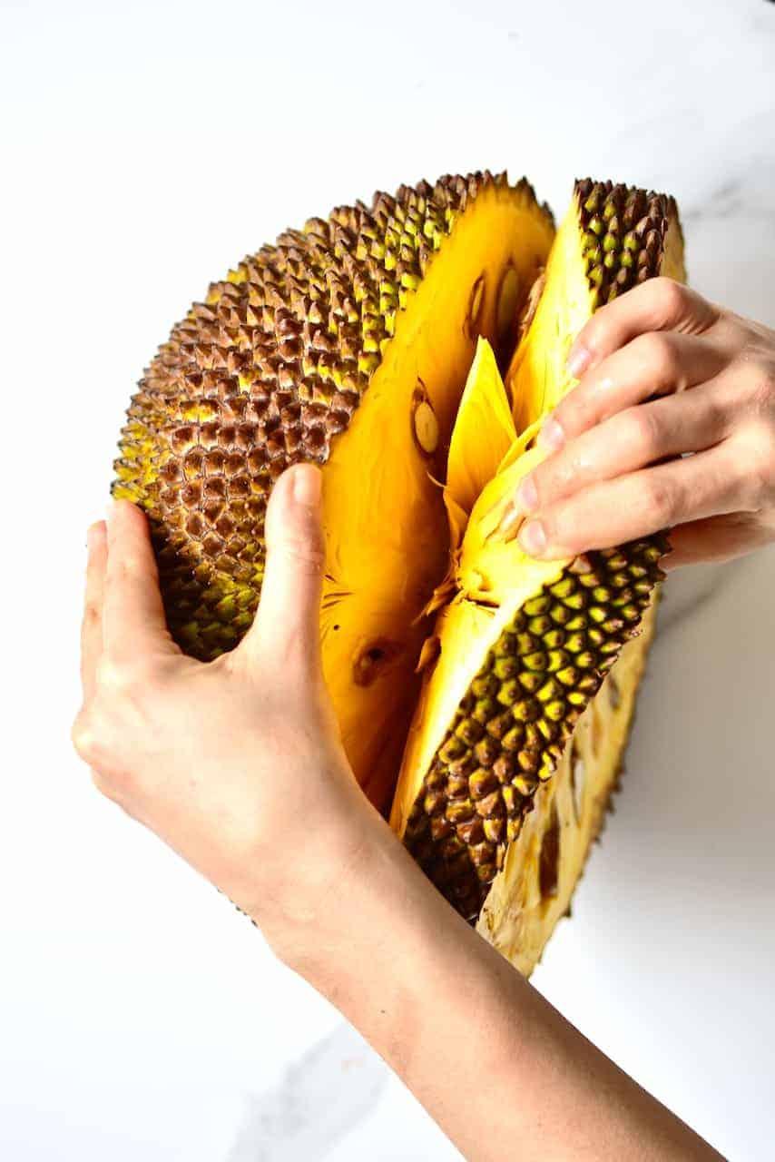 Cutting a jackfruit
