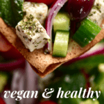 Greek Salad with vegan homemade feta cheese