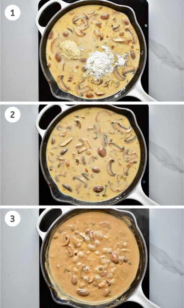 steps to making a creamy vegan mushroom gravy sauce