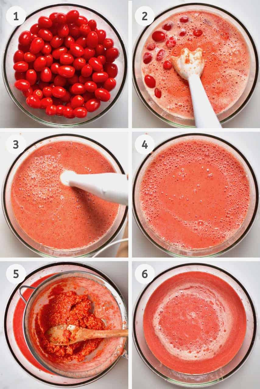 step-by-step blending tomatoes to make homemade ketchup