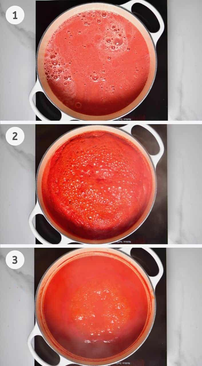 reducing tomatoes on the stove for how to make ketchup