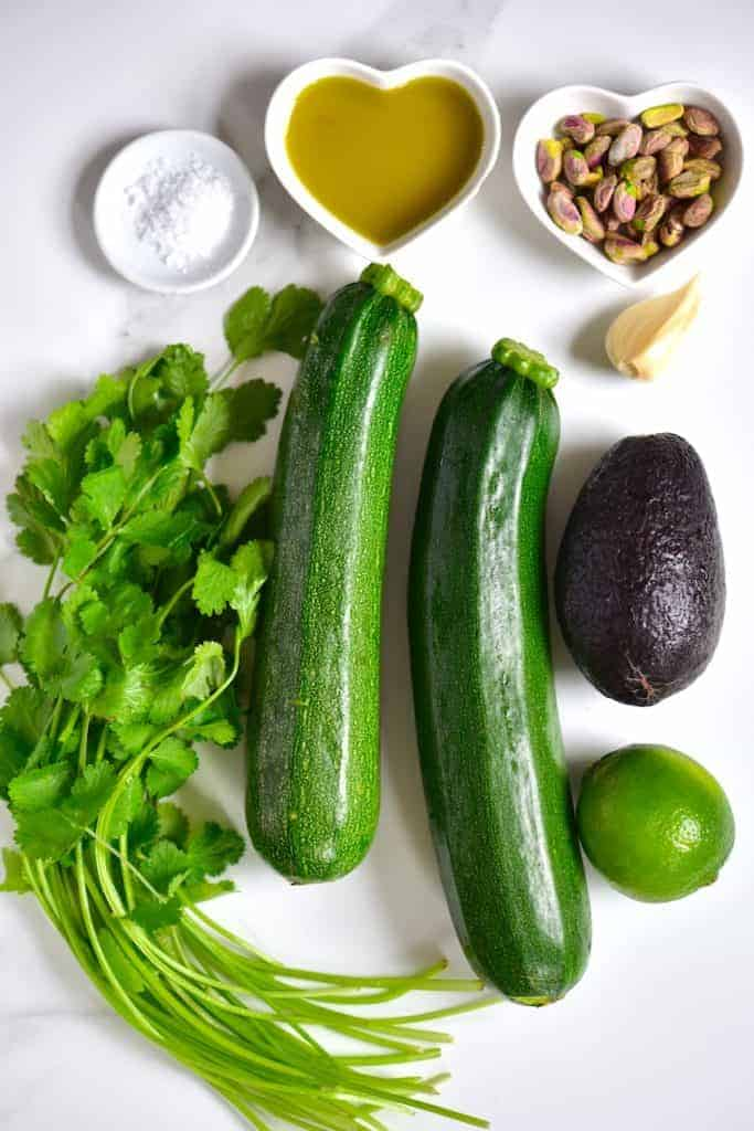 Ingredients for zoodles and pesto
