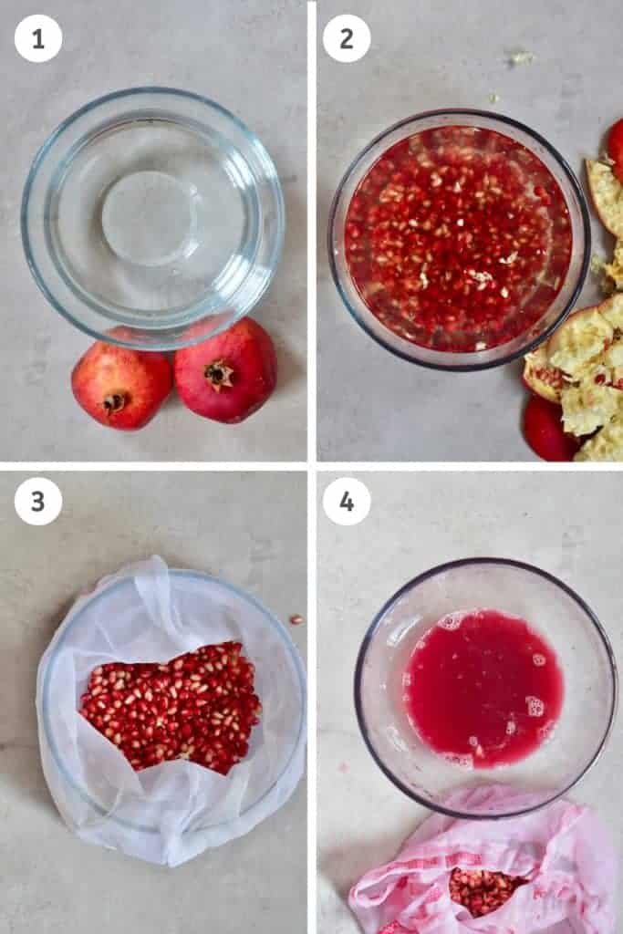 step by step for getting pomegranate juice