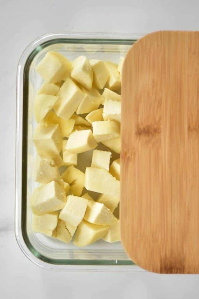 paneer in a glass container
