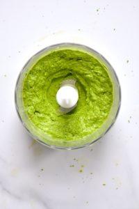 Ready homemade pistachio pesto in a blender