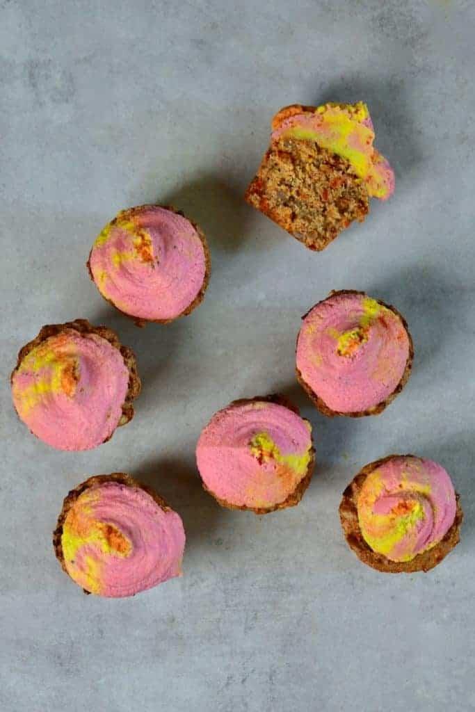 Sundried Tomato Savoury Muffins & Rainbow Hummus Frosting