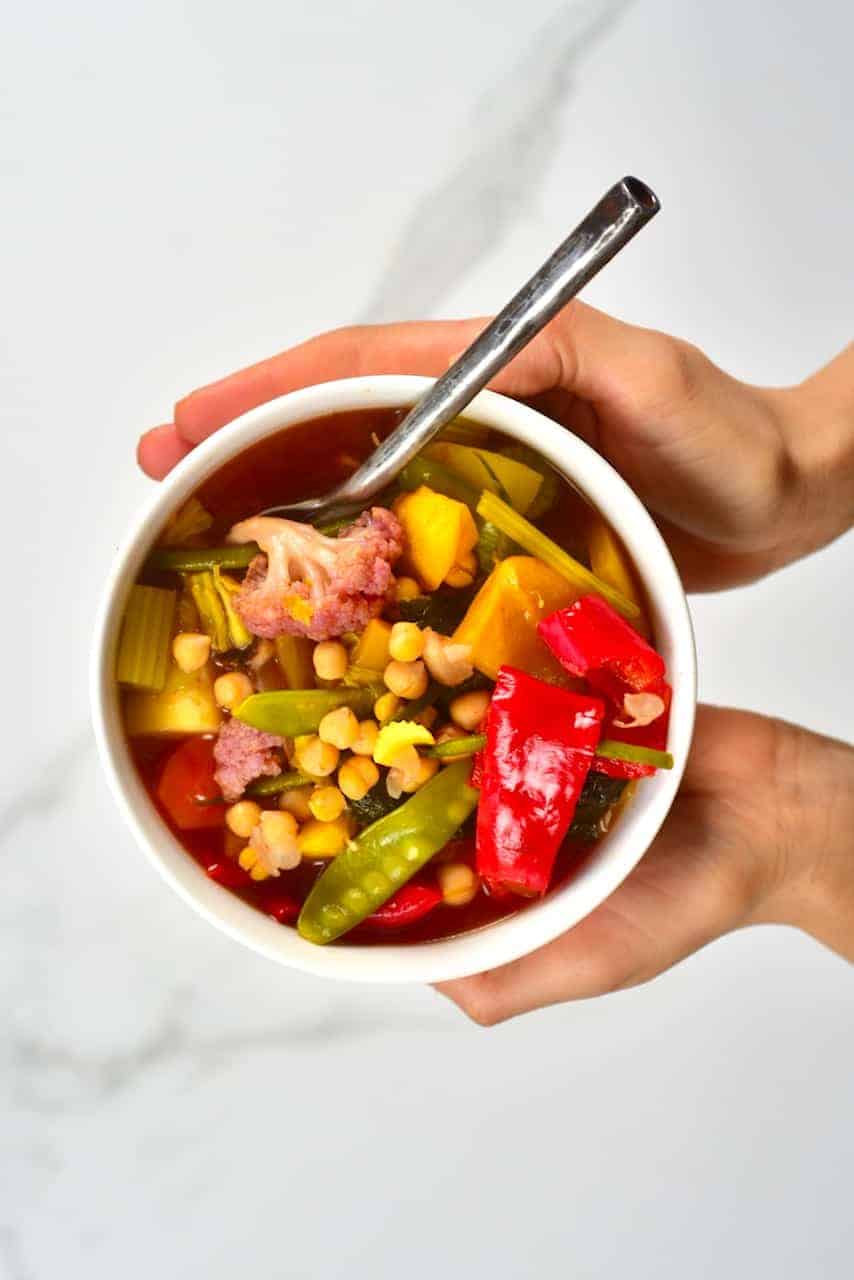 Serving of rainbow vegetable chickpea stew