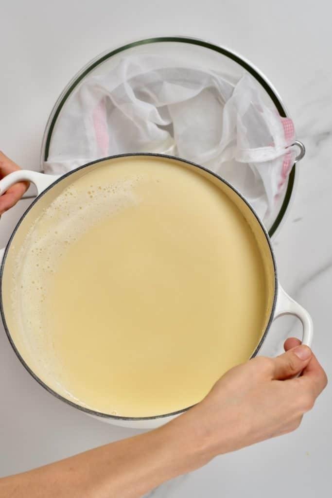 soy milk in a saucepan