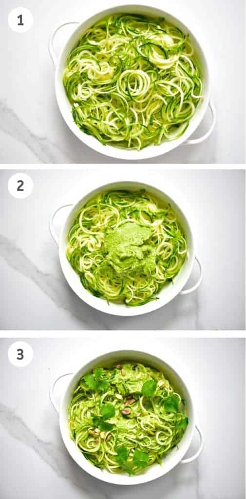 Steps to assembling zoodles with pistachio pesto