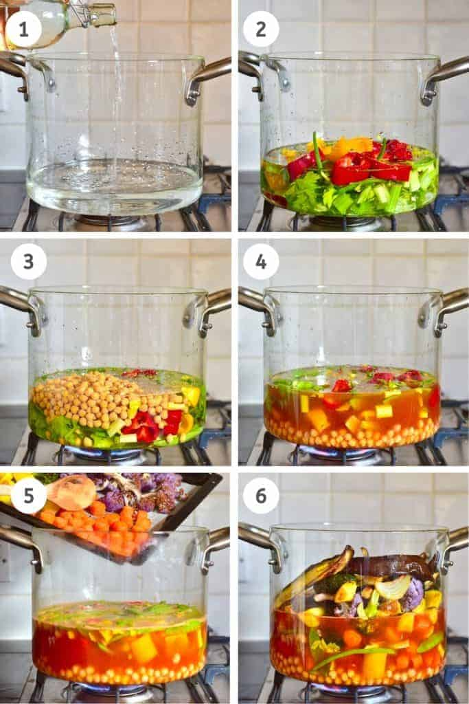 Steps to making vegetable chickpea stew