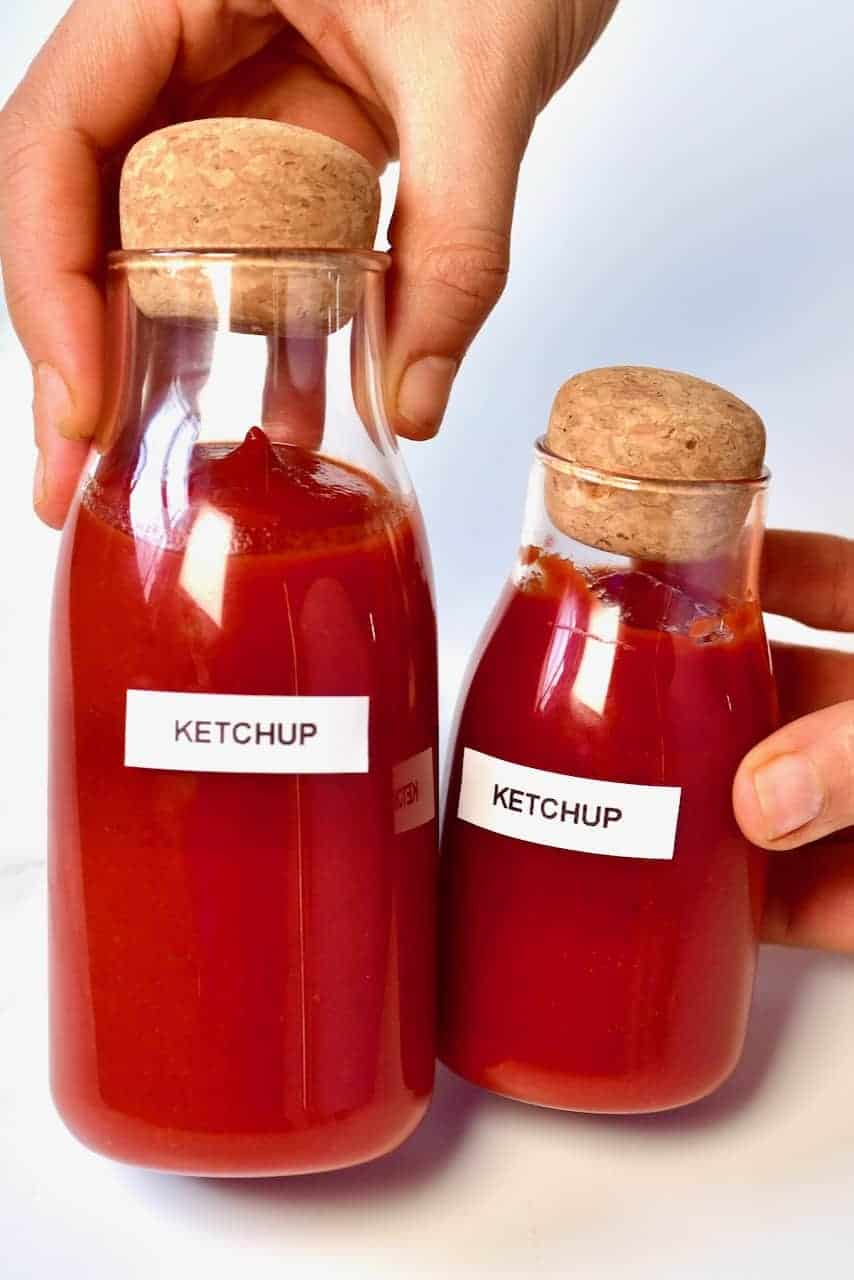 two bottles of homemade ketchup