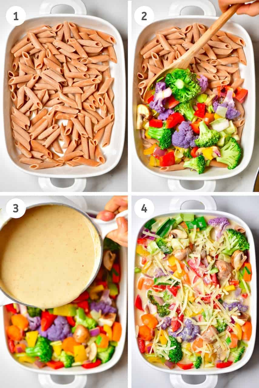 the steps to making a Vegan Bechamel Pasta Bake with Rainbow vegetables and a delicious dairy free, vegan bechamel sauce. A wonderful Vegan comfort food dish that's easily customisable, dairy-free, and can be made gluten-free.