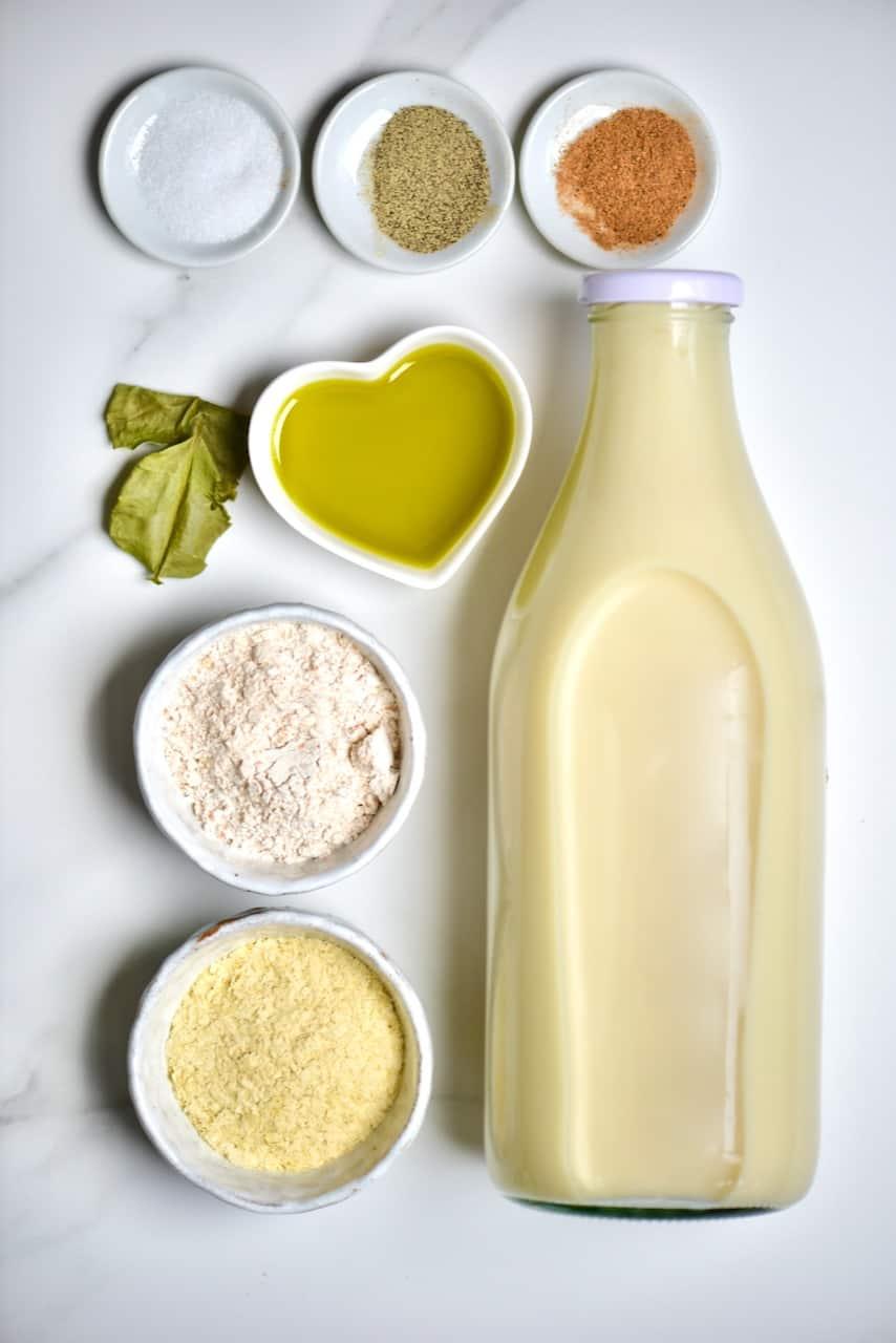 ingredients for vegan bechamel sauce
