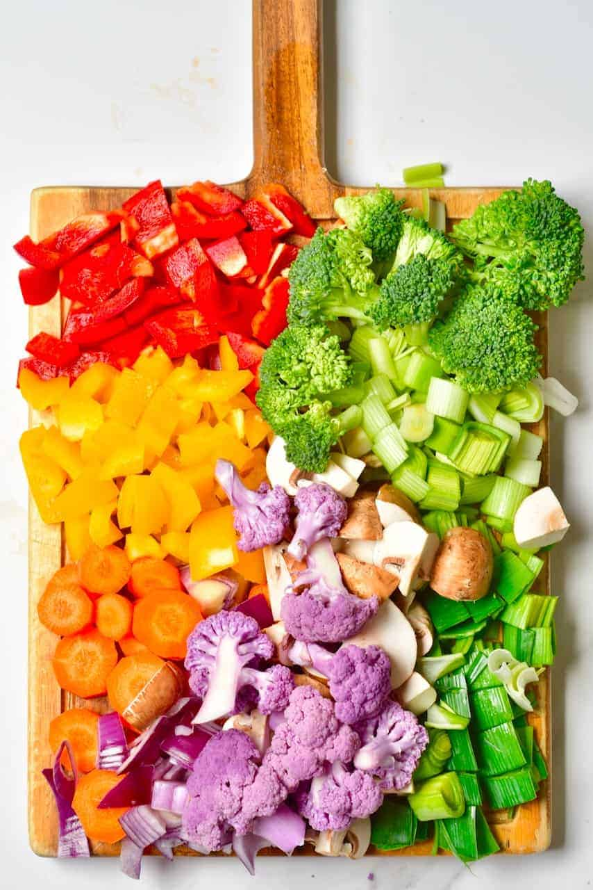chopped rainbow vegetables