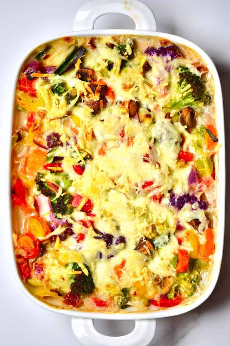 Vegan Bechamel Pasta Bake with Rainbow vegetables and a delicious dairy free, vegan bechamel sauce. A wonderful Vegan comfort food dish that's easily customisable, dairy-free, and can be made gluten-free.