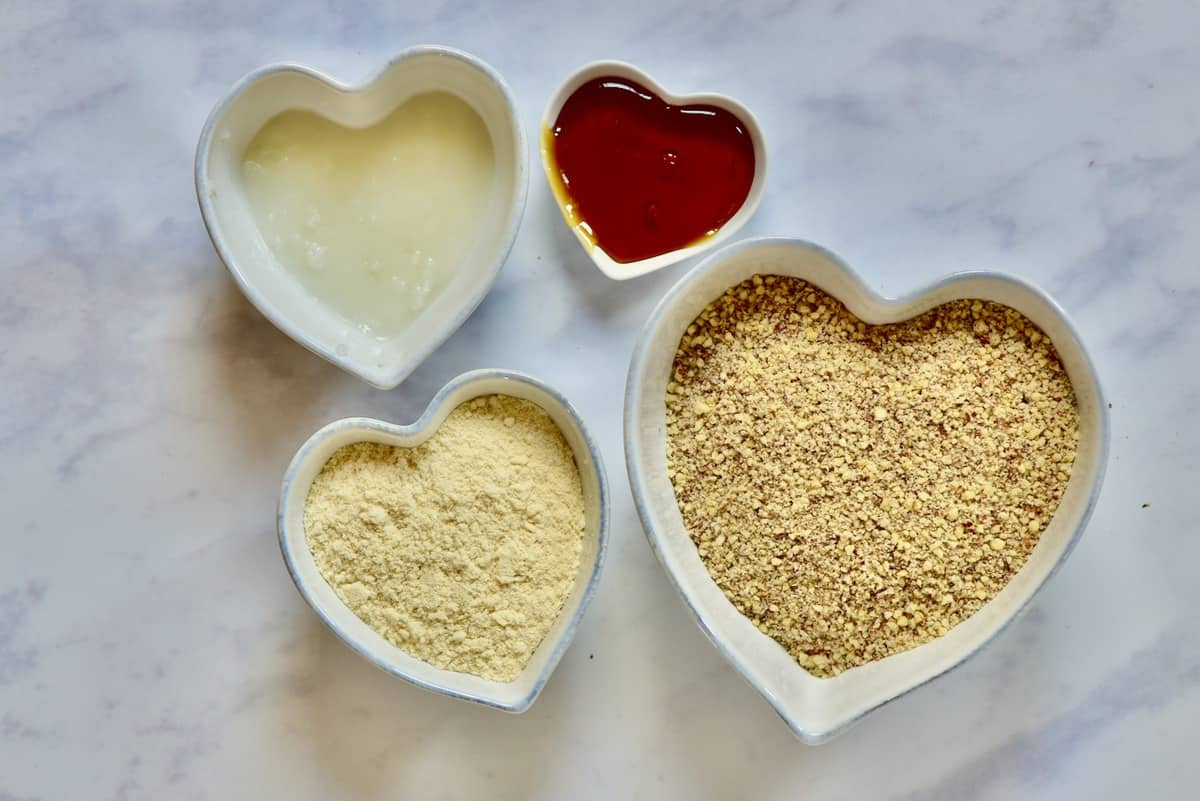 the ingredients for a vegan no-bake tart crust