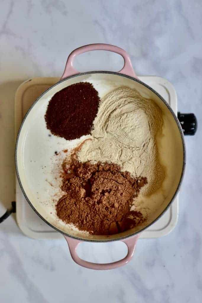 mocha layer ingredients in a saucepan