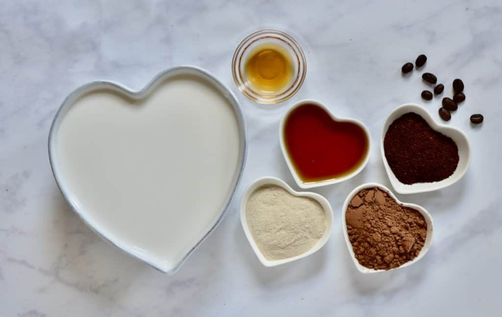 The ingredients for a vegan mocha tart filling