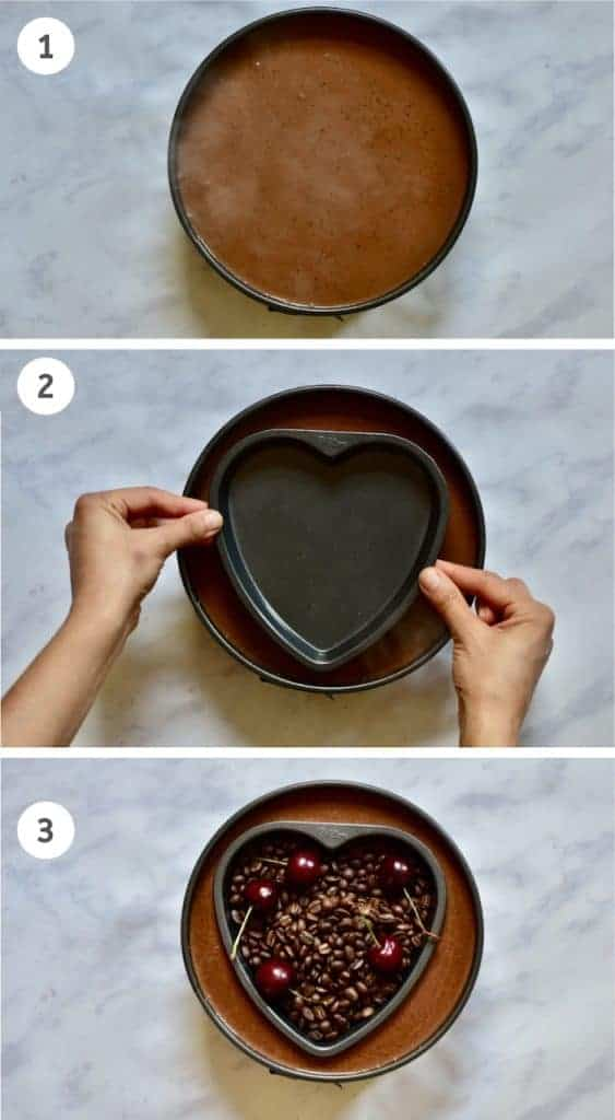 pressing heart shape into tart