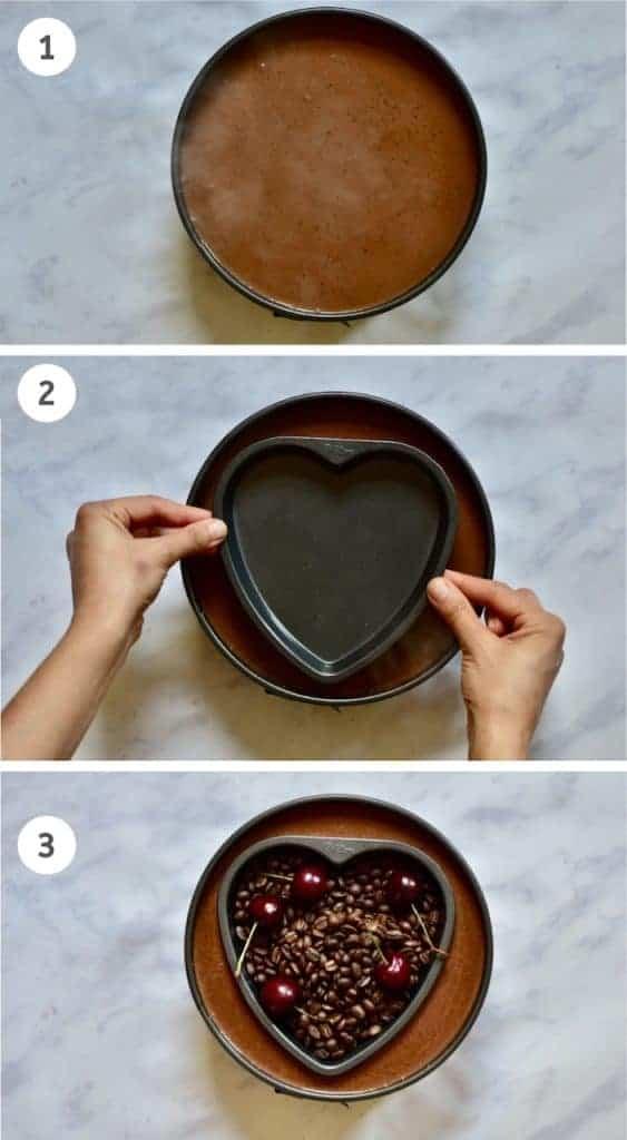 pressing heart shape into tart