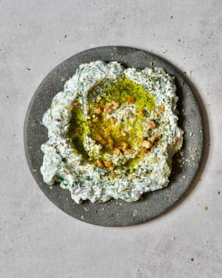 Spinach yogurt dip borani