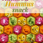 honeycomb shaped crackers topped with rainbow hummus