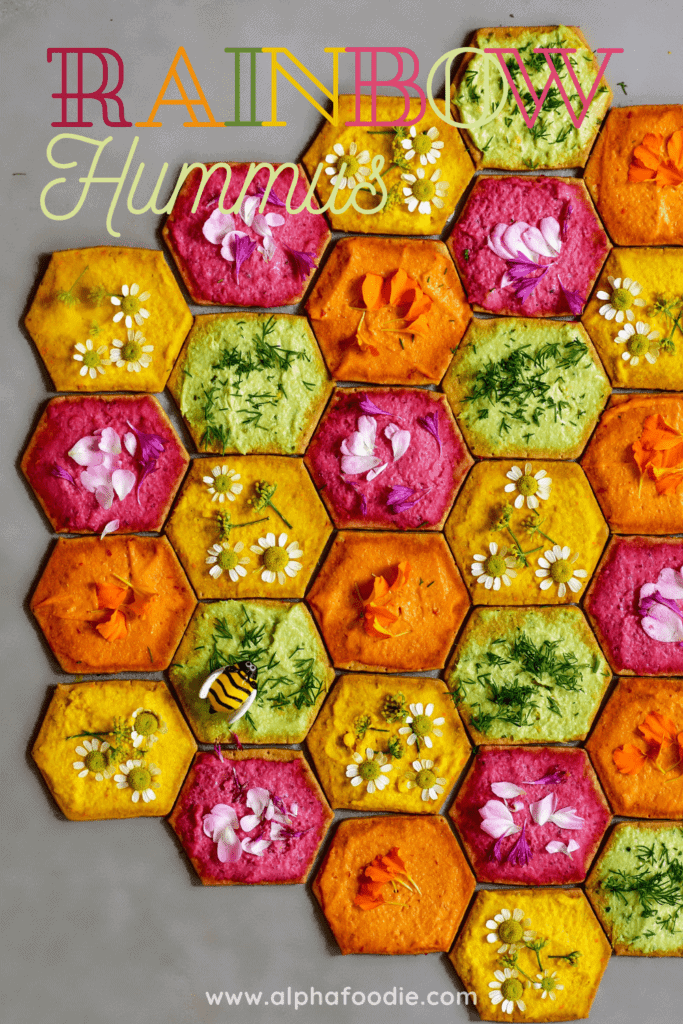 natural rainbow hummus on mini crackers