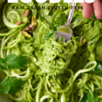 a fork which has pistachio courgetti zoodles