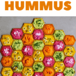rainbow hummus on beehive cracker design