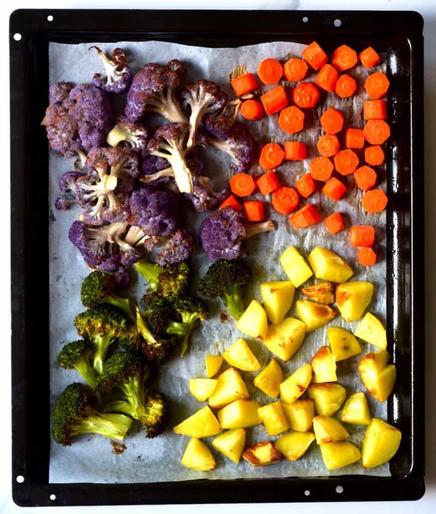roasted tray of rainbow vegetables
