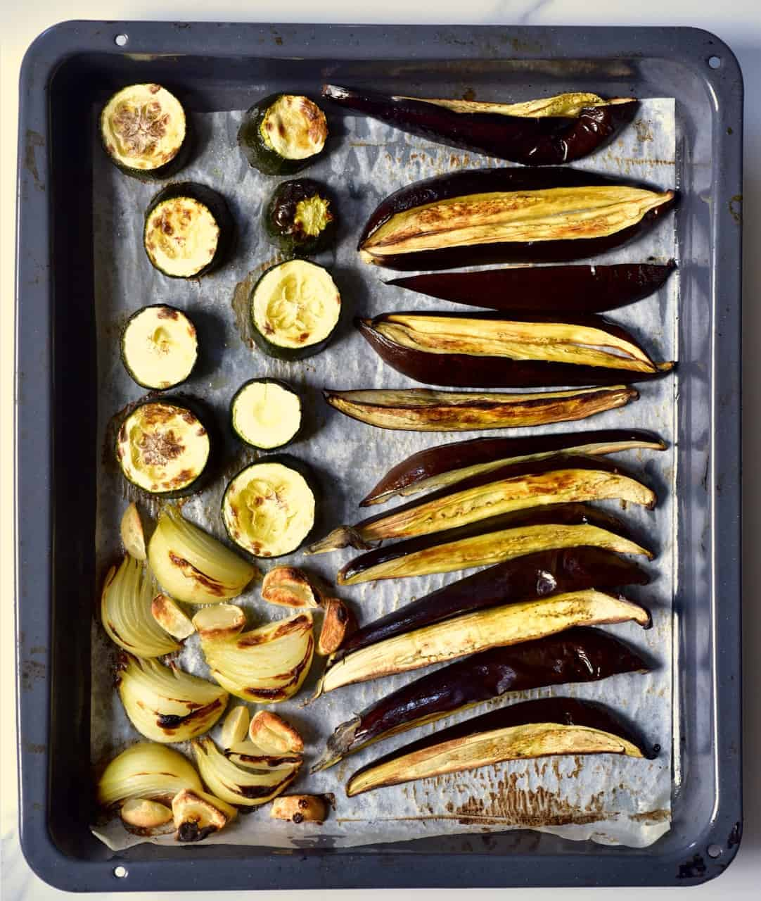 roasted tray of soft vegetables
