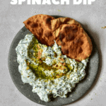 Spinach yogurt dip with oil and walnuts