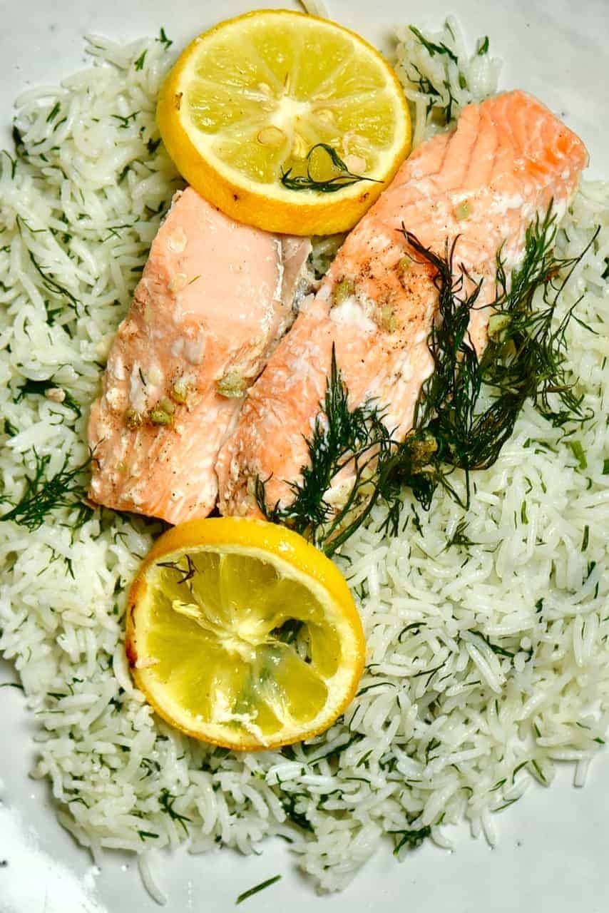 Baked salmon over rice