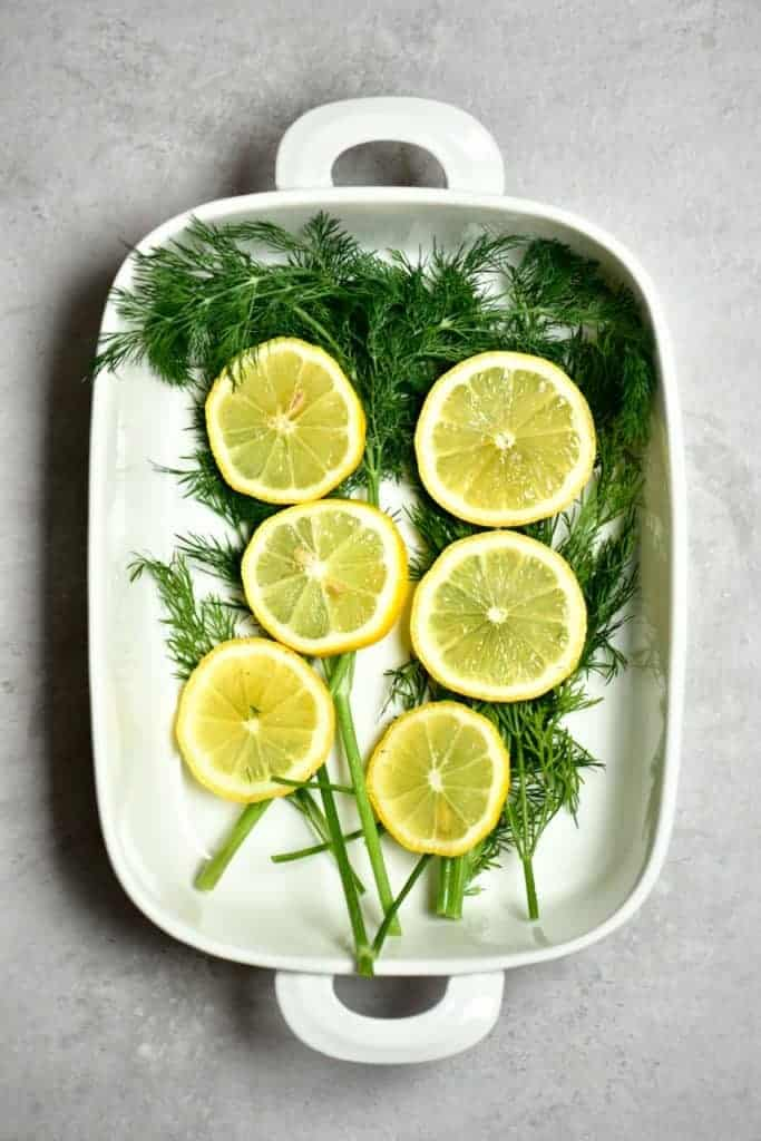 Dill and lemon in a oven dish