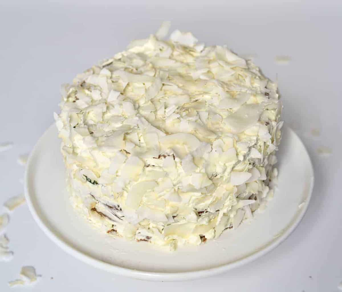 Square Coconut cake covered with coconut chips