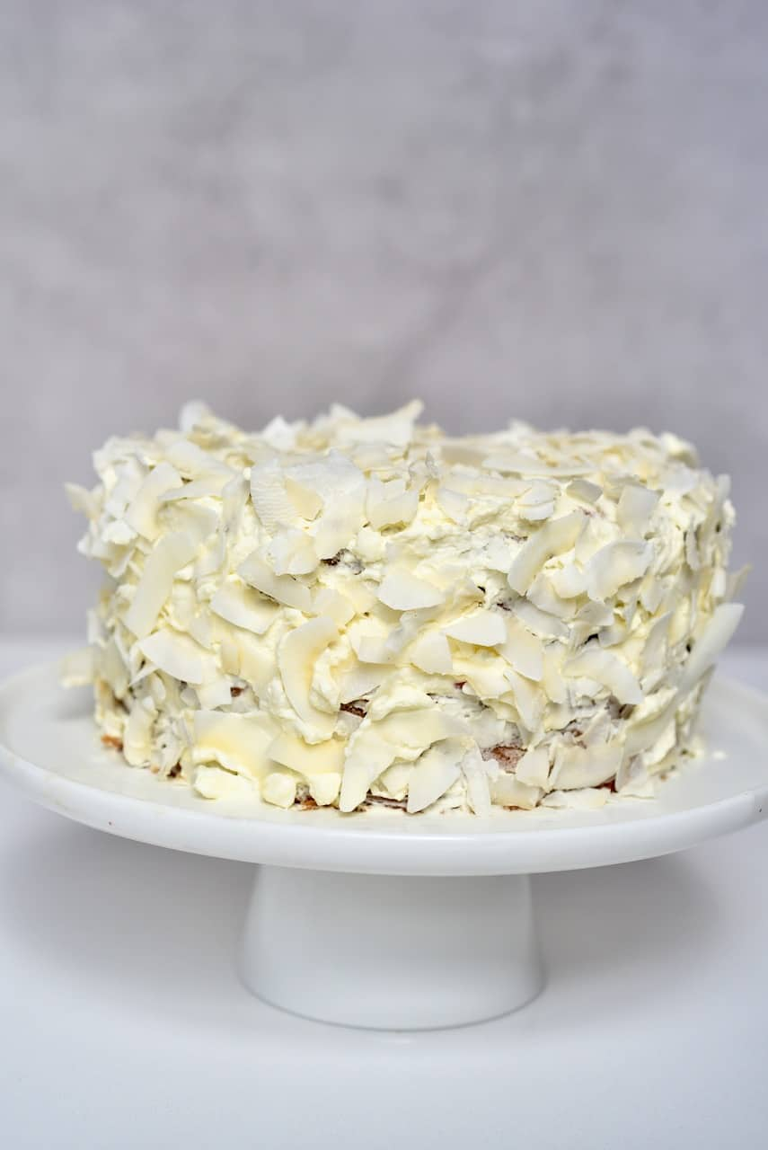Coconut cake covered with coconut chips