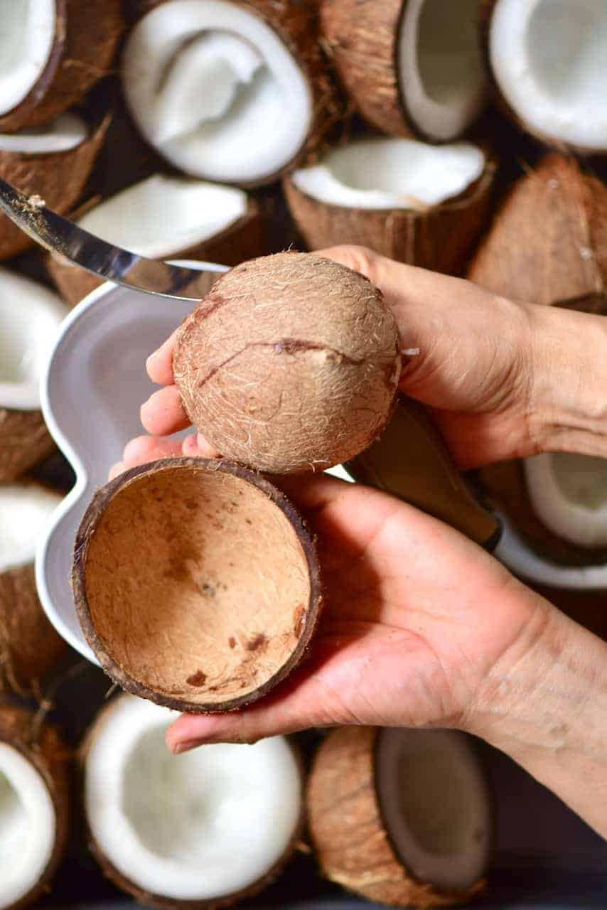 Removing the flesh from coconut shell