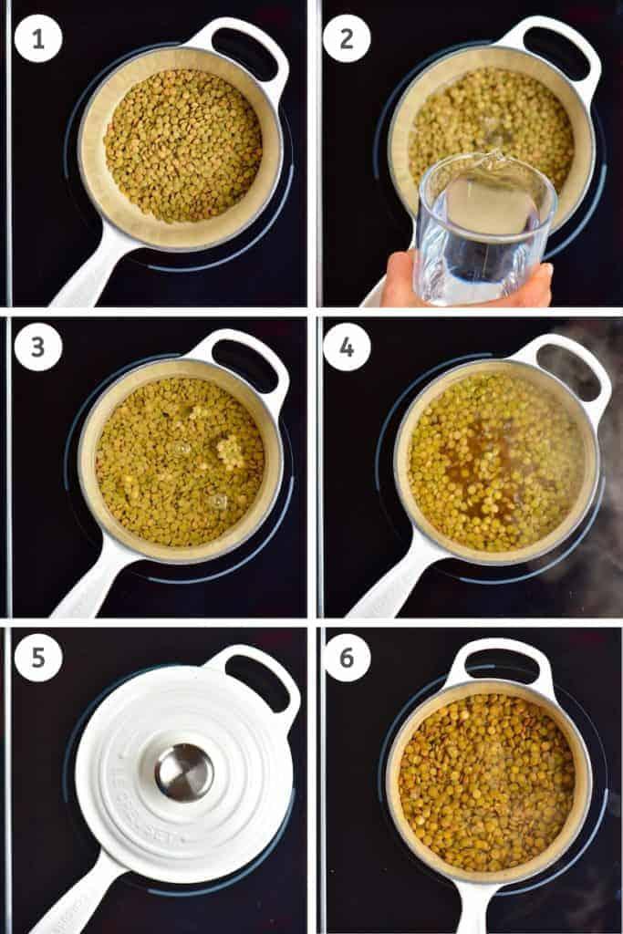 Cooking lentils steps