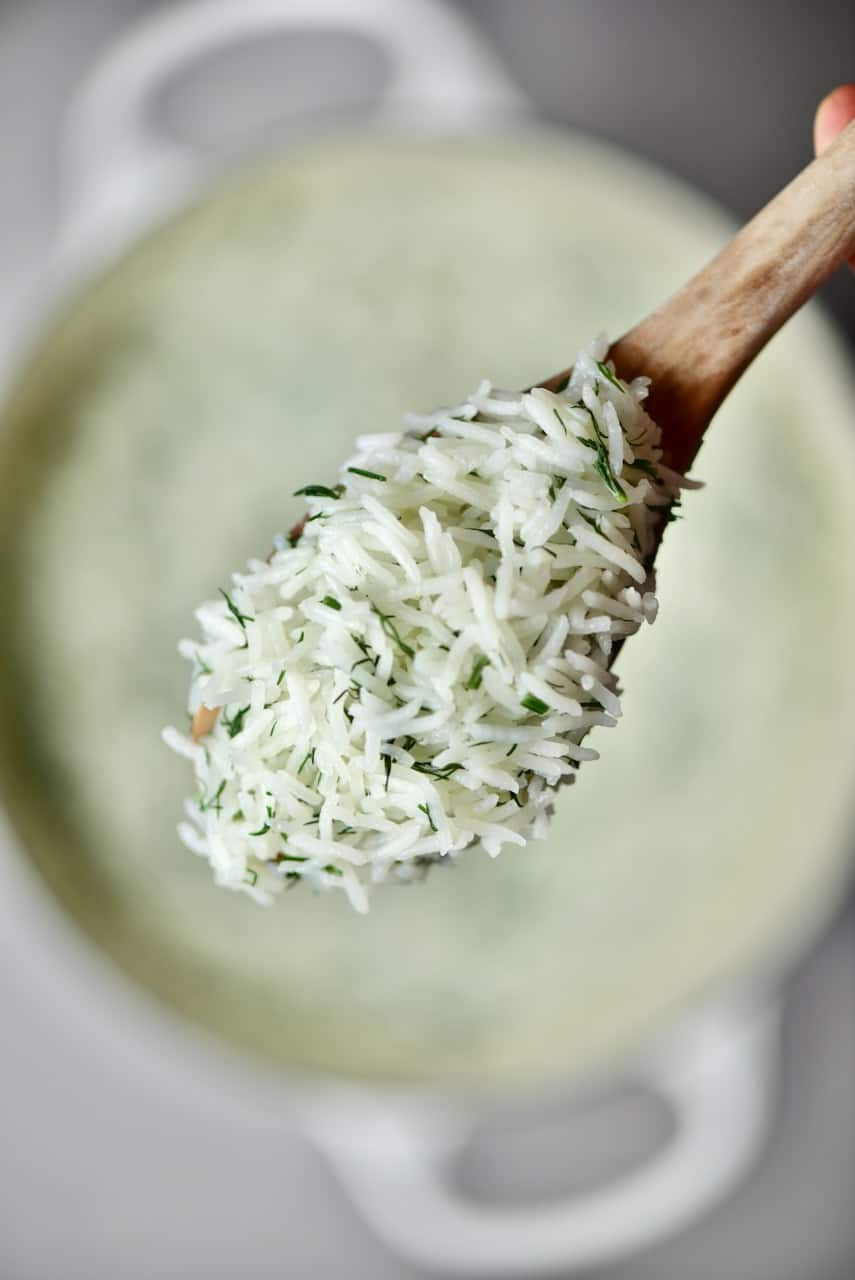 A spoonful of Fluffy Basmati Rice with Dill
