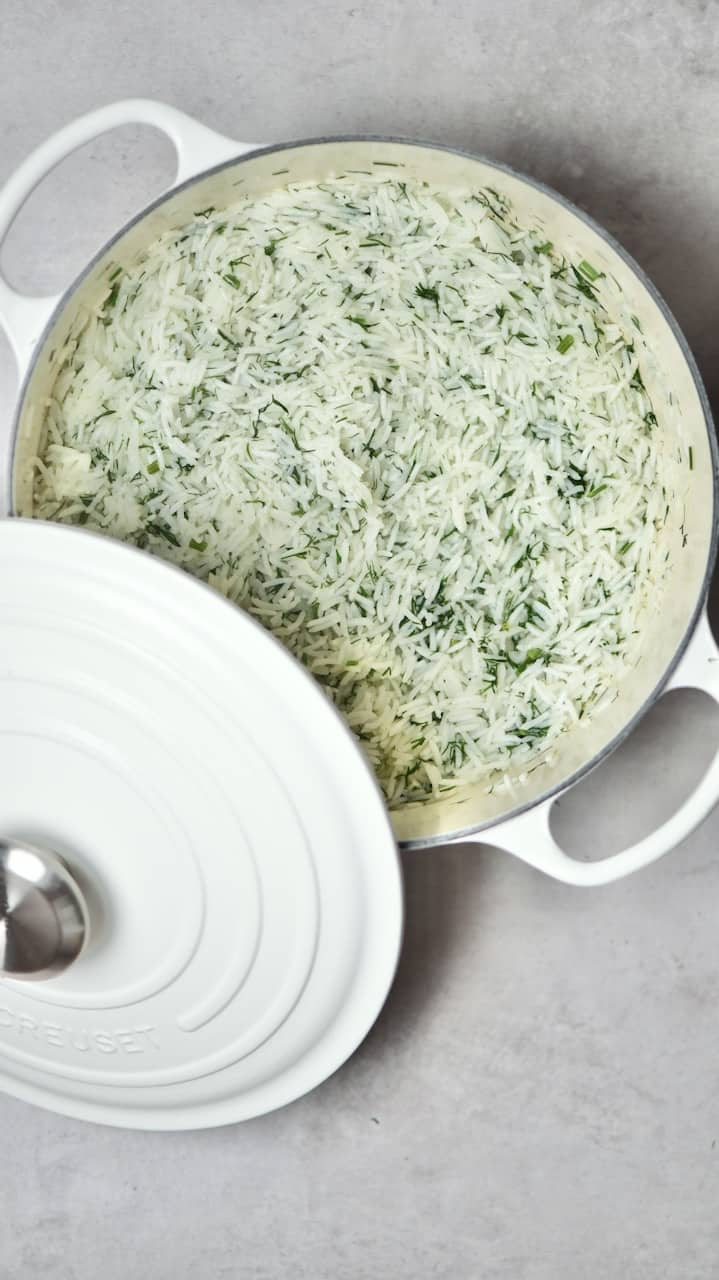 Fluffy Basmati Rice with Dill in a pot