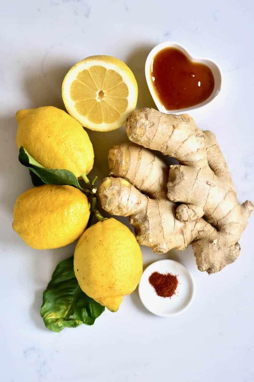 Lemon Ginger root honey and cayenne pepper