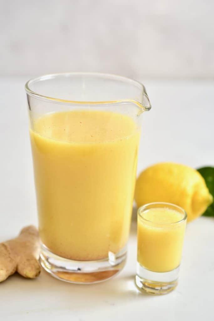 Fresh ginger lemon juice and shots