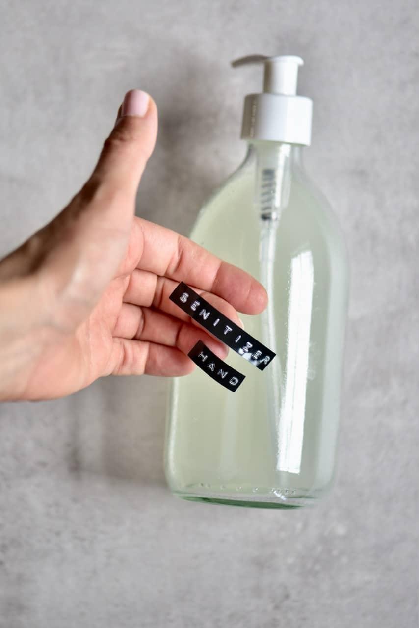 Labeling hand sanitiser