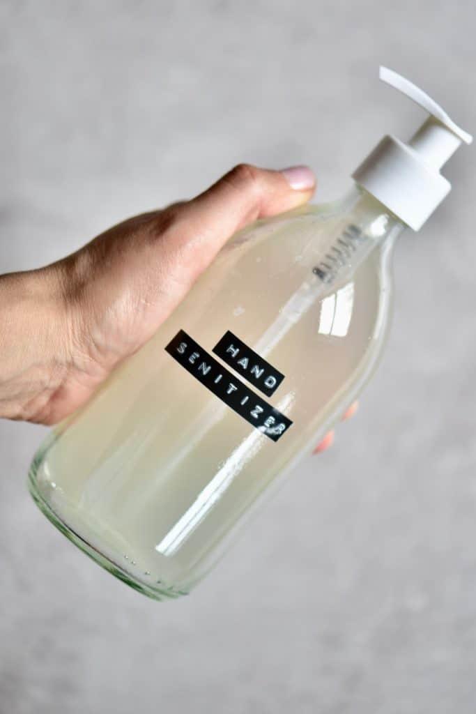 Hand sanitiser in dispenser bottle