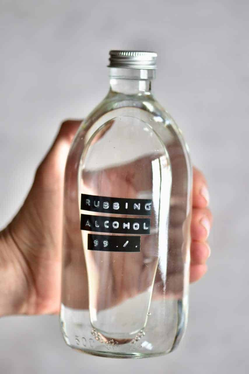 Rubbing alcohol in a glass bottle