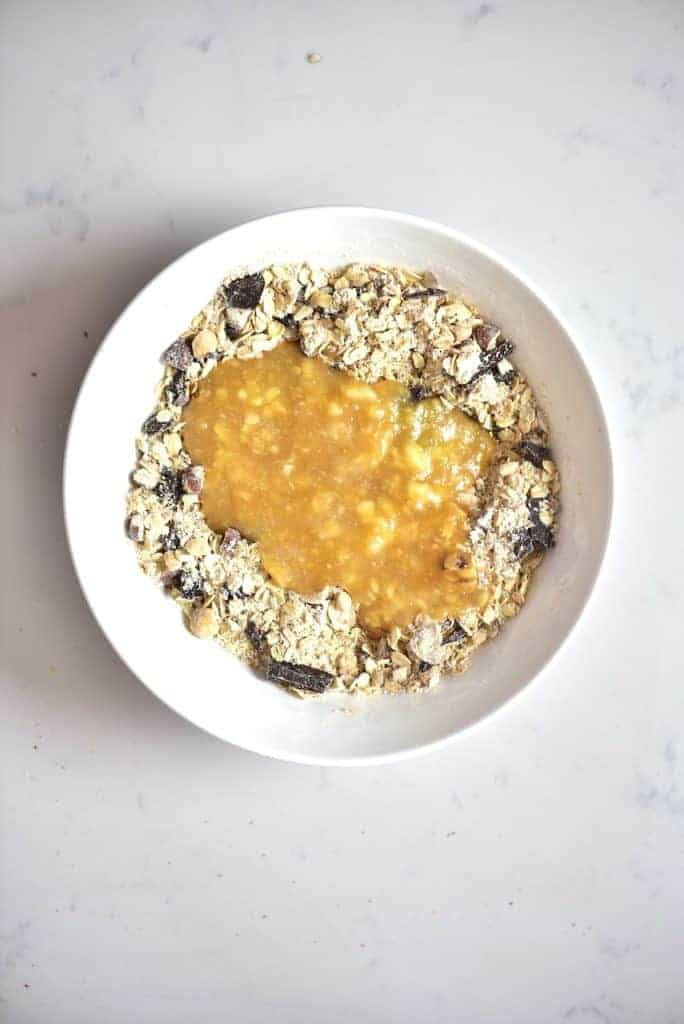 Oats mixture with mashed banana for vegan oat cookies