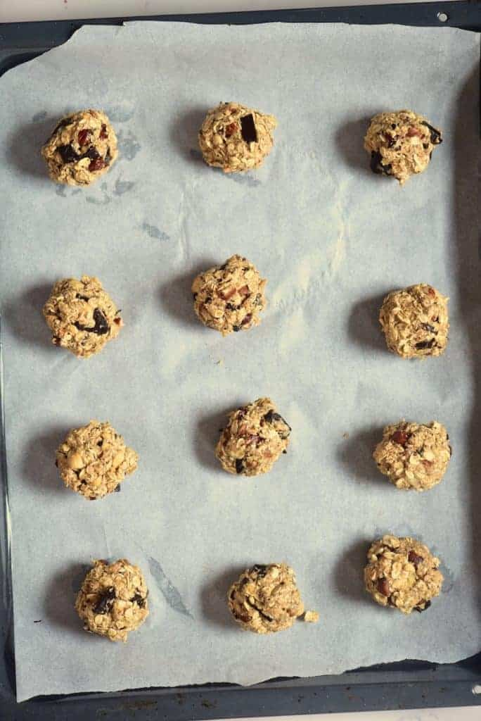 Oats batter separated into cookie balls