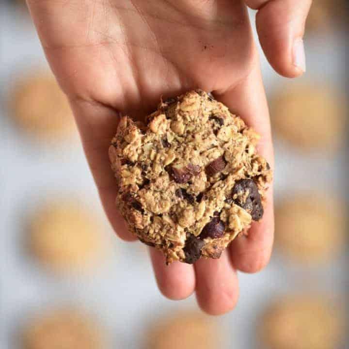 Baked oat hazelnut chocolate cookie